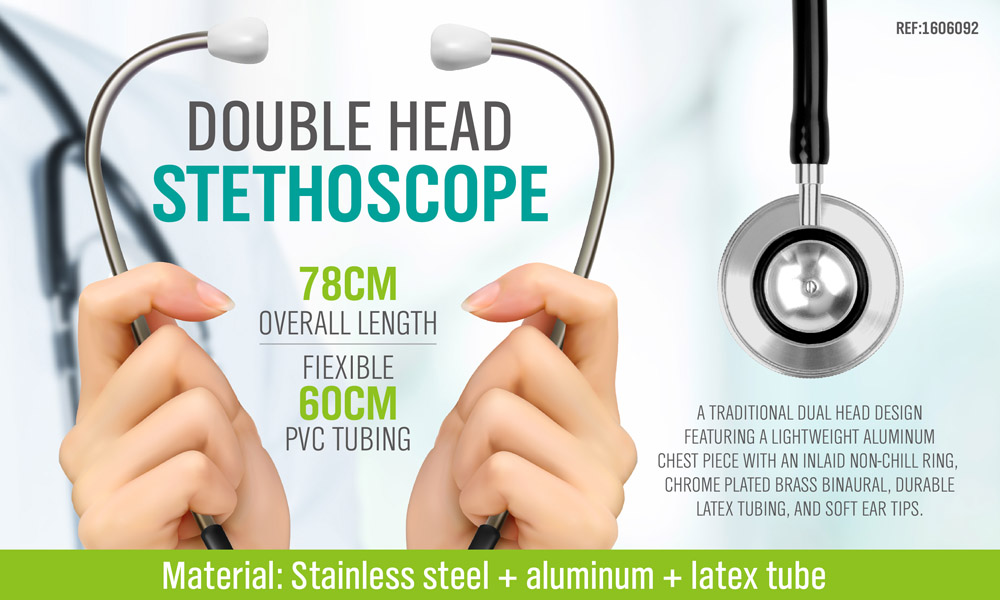 TETHOSCOPE DUAL HEAD FOR ADULT BLACK HIGH QUALITY MEDICAL SERIES