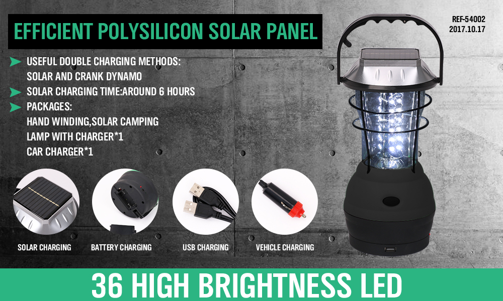 36 LED Solar Lantern Rechargeable Camping Light Outdoor Fishing Lamp SuperBright