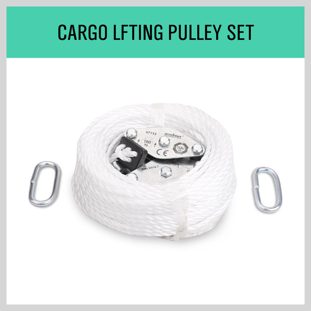 20M Cargo Lifting Rope Winch Hoist Pulley Puller Set Max Loading 180kg