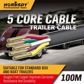 100M X 5 Core Wire Cable Trailer Cable Automotive Boat CaravanTruck Coil V90 PVC