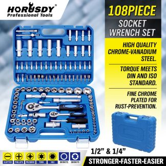 Set includes a collection of the most popular sockets, ratchets, hex keys, bits and more
