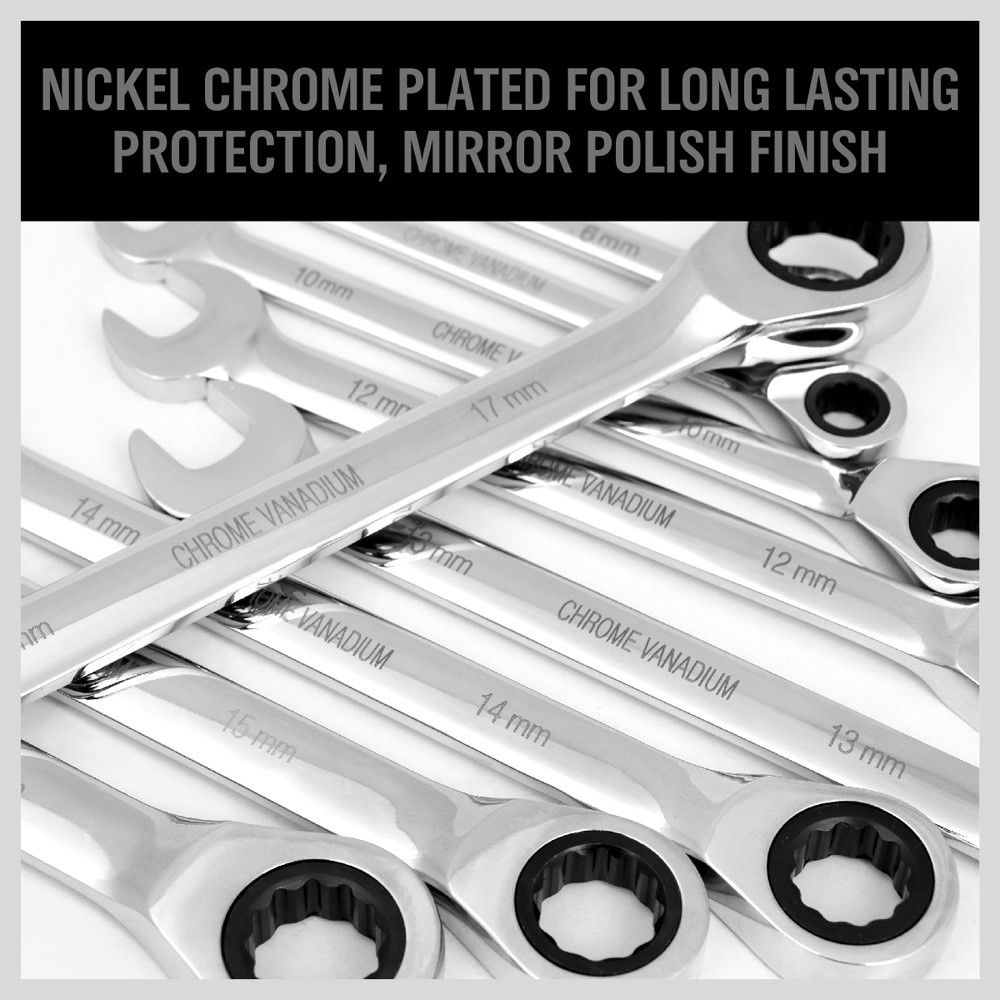 20 Piece Ratchet Spanner Set Metric & Imperial Combination Open End Ring CR-V Case