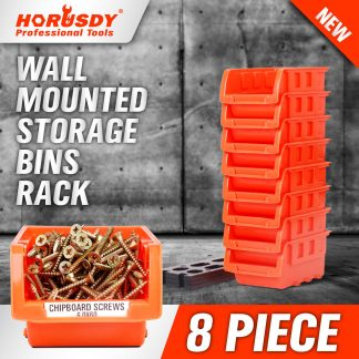 8PC Wall Mounted Bins Rack Storage Parts Organiser Bin Boxes Workshop Tool Solution