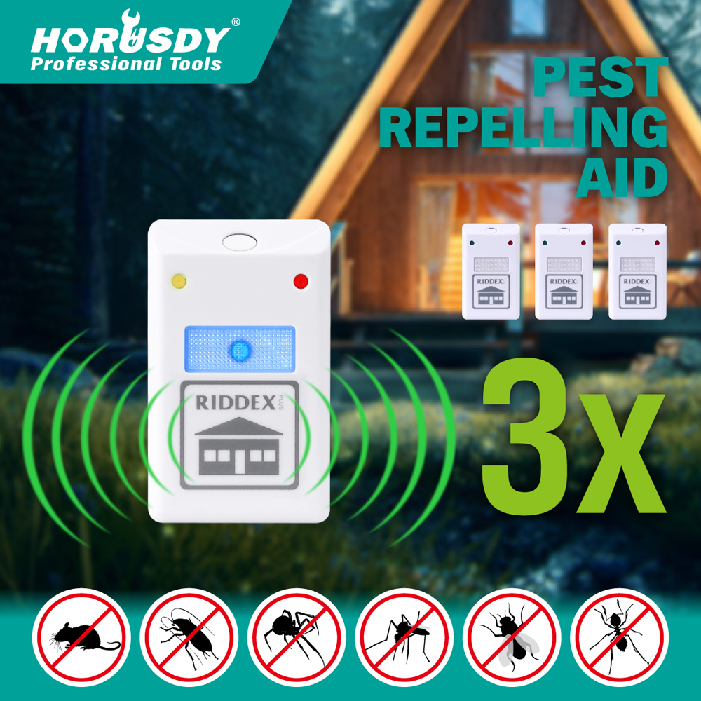 3 X RIDDEX Plus Electronic Ultrasonic Pest Control Repeller Spiders Rats Mice