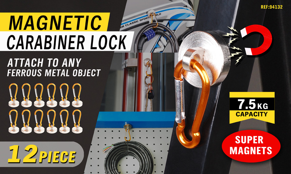 12PC Strong Magnetic Fridge Clip Carabiner Lock Tool Holder Cable Hiking Hook