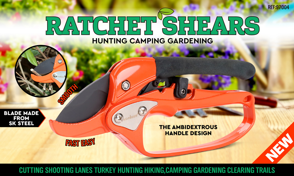 Ratchet Carbon Steel Pruning Shear Gardening Tree Flower Labor-saving Pruner