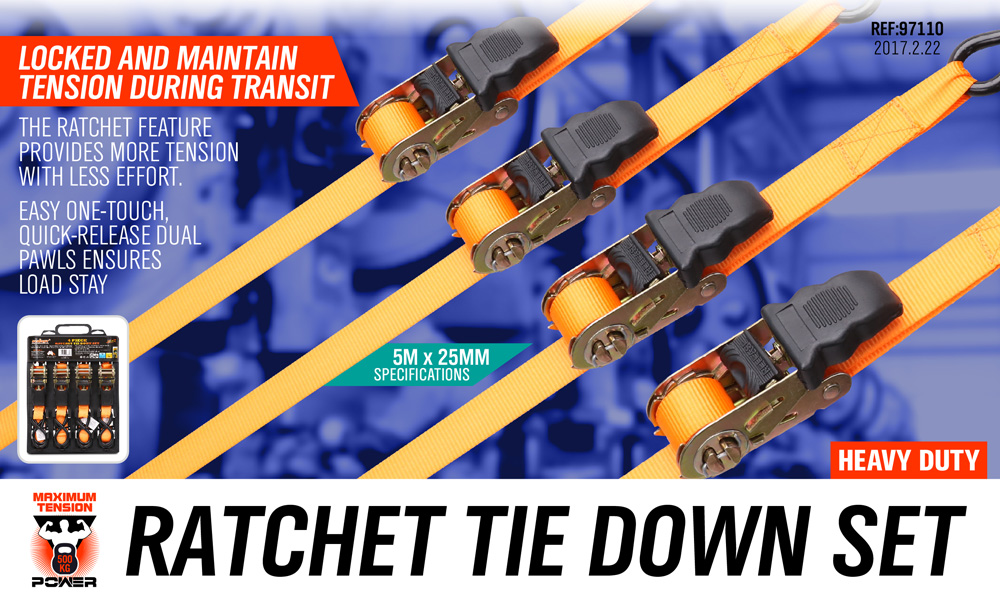 4PC Ratchet Tie Down Strap 25mm x 5m Cargo Trailer Roof Rack Motorcycle Packing