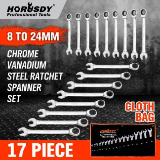 17Pcs Ratchet Spanner Set Metric Combination Open End Ring Spanner CR-V 8-24mm