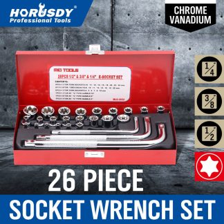 26Pc External Torx Star Socket Set 12 38 14 Drive Handle Spanner Kit In Case