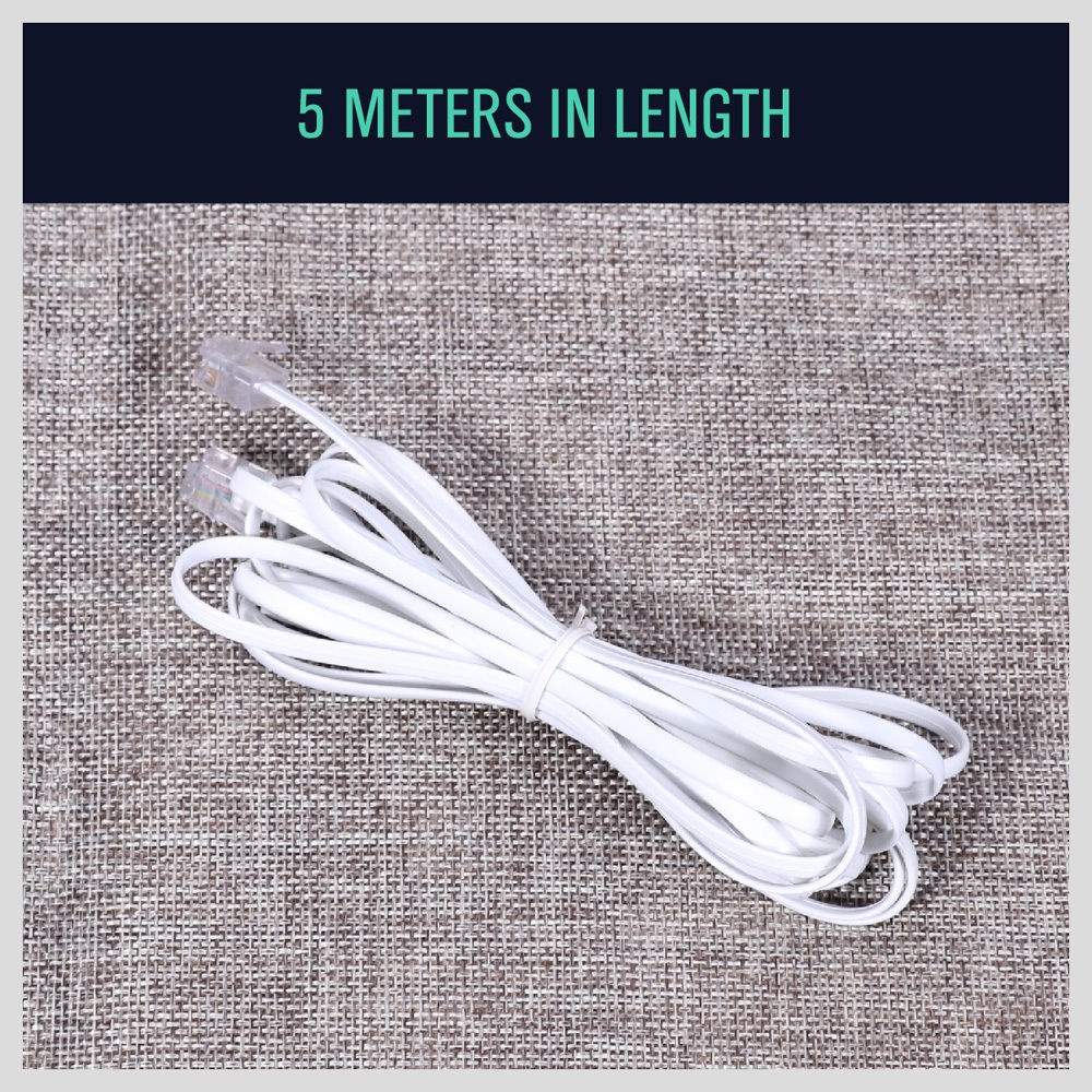 5 x 5M Telephone Phone Extension Cord Cable Wire Lead Adsl Filter Modem Fax Wire