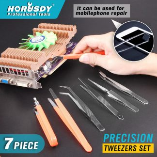 7 Pieces Anti-static Tweezer Maintenance Tool Kits Stainless Steel Multipurpose
