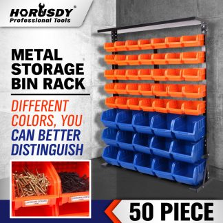 50 Pcs Bin Storage Rack Shelving Garage Storage Rack Tool Organiser Box Workshop