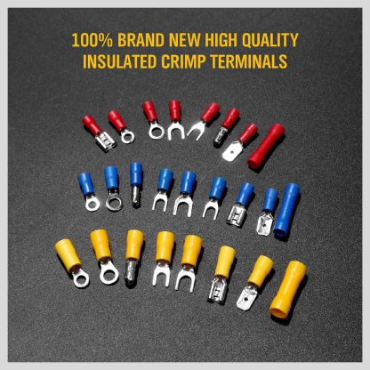 1200Pc Assorted Insulated Electrical Wire Terminal Crimp Spade Connector Kit Box