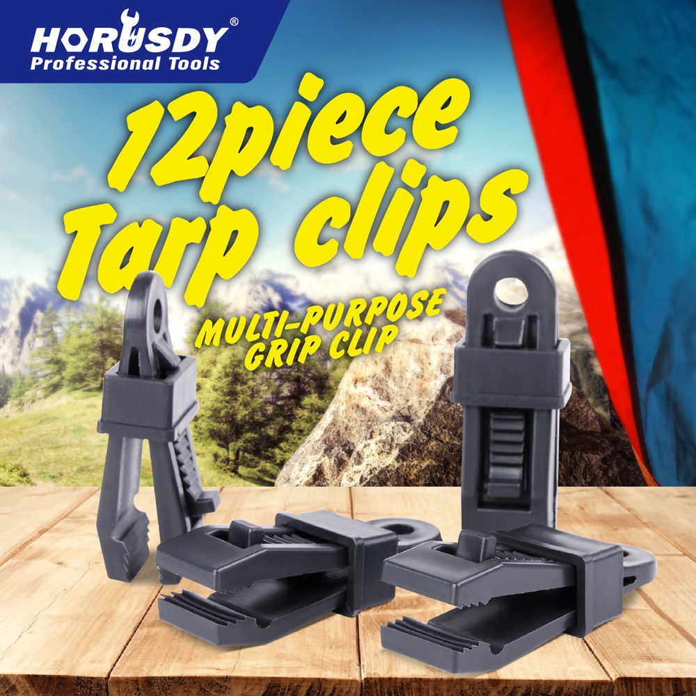 12-40Pcs Camping Awning Tarp Clips Tent Clamps Set Snap Hangers Tighten Tool New