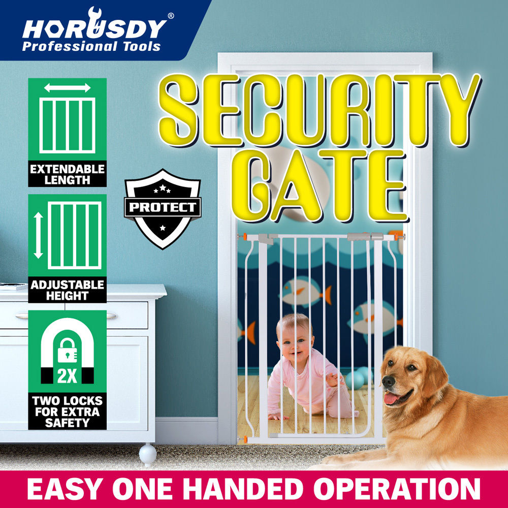 Wht 103cm Tall74-84cm Wide Baby Security Door GatePet Dog Stair BarrierSafety