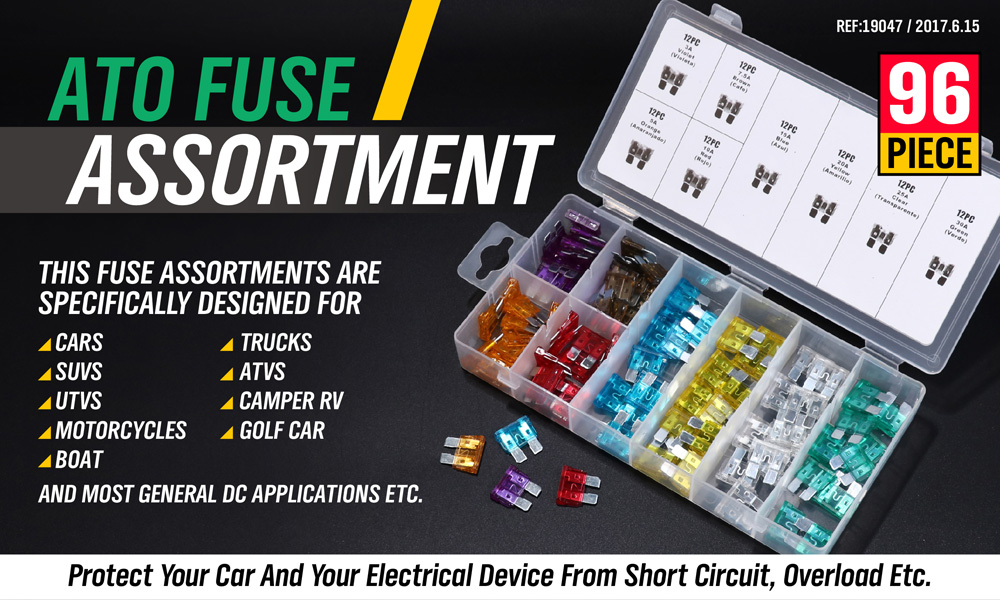 96 Mini Blade Car Fuse Assortment Set 3A 5A 7.5A 10A 15A 20A 25A 30A