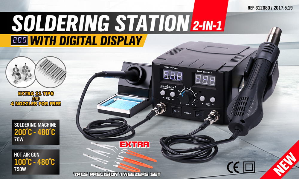 2in1 Soldering Iron Solder Rework Station Hot Air Gun Digital Desoldering