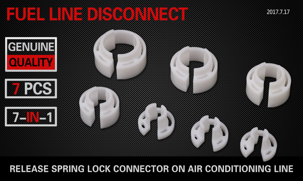 7 Piece Fuel & Air Conditioner Line Connector Disconnect Set Sleeves