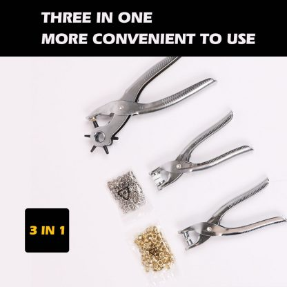 3 Pce Rotary Leather Hole Eyelet Snap Punch Pliers Grommet Punches