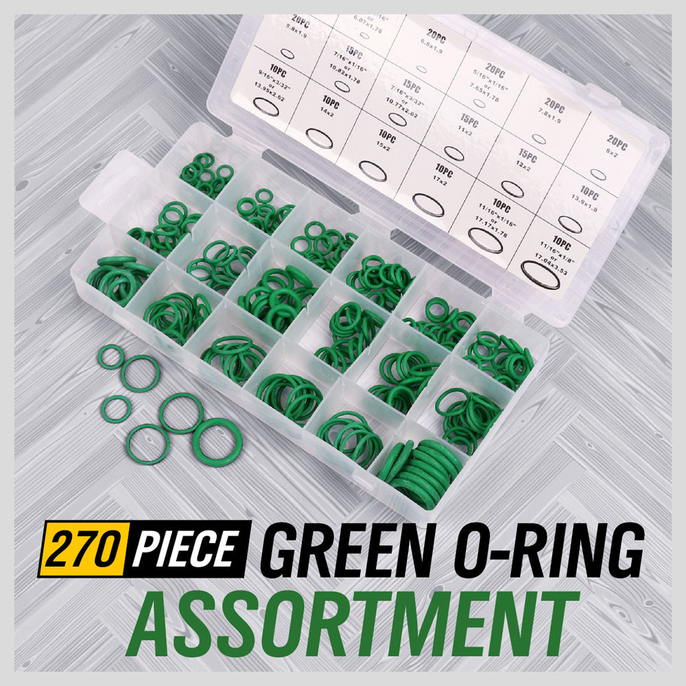 270 Piece Rubber O Ring Assortment Kit Metric Automotive Grommet Rubber Ring Set