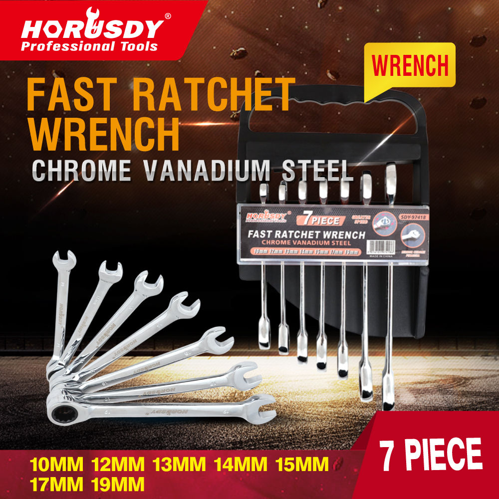 7 Piece Metric Ratchet Spanner Set Combination Head Gear Wrench