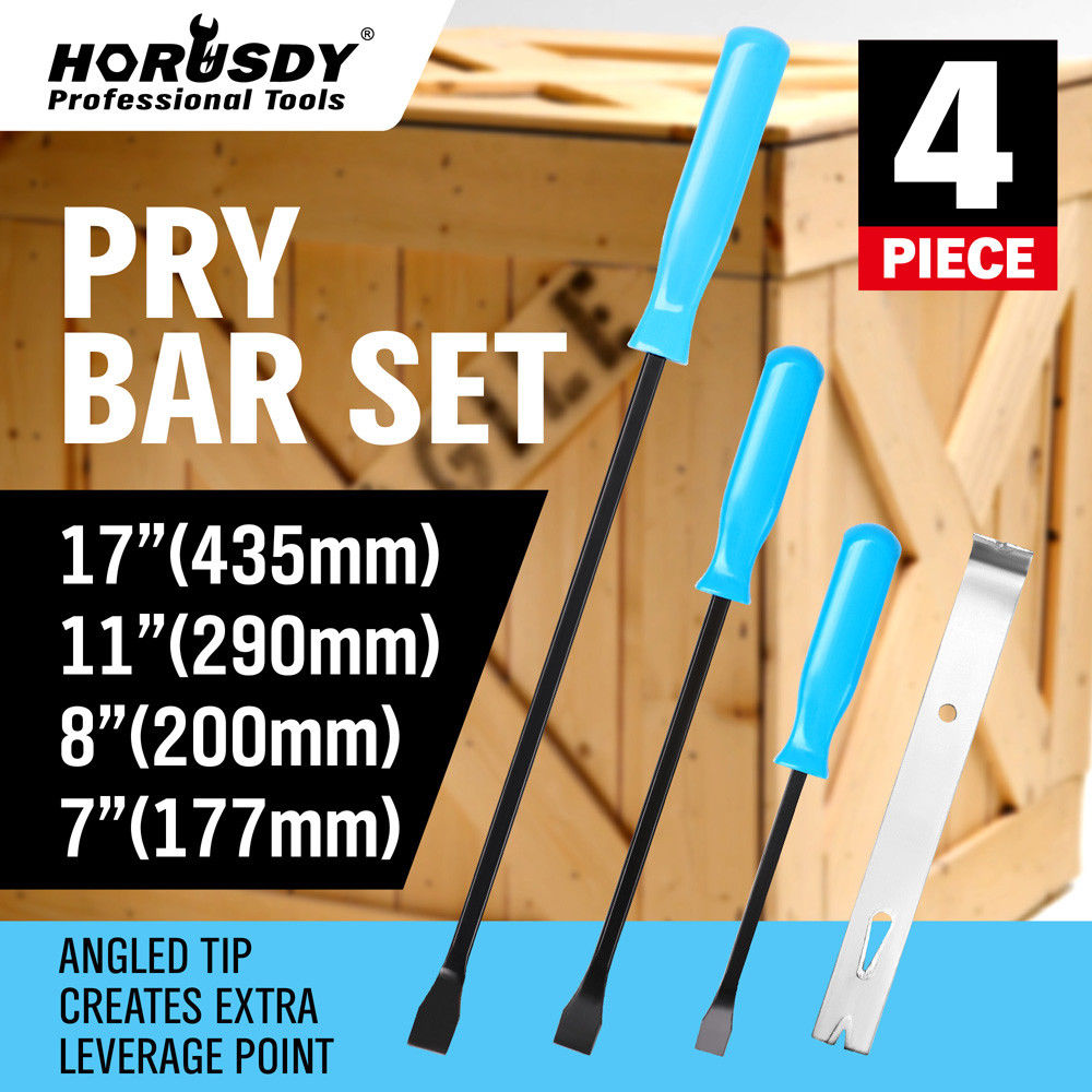 4 Piece Steel Pry Bar Set Panel Beater Pinch Bars Wrecking Bar