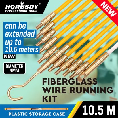 10.5m Fibreglass Electricians Push Pull Rods Cable Cavity Contractors