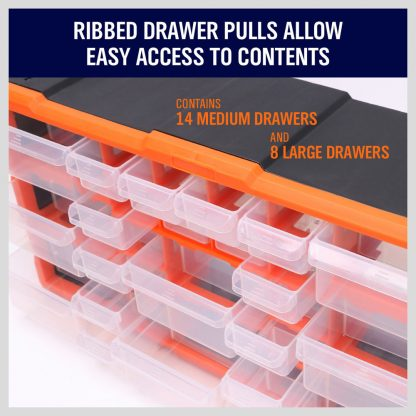 22 Drawers Storage Cabinet Tool Box Bin Chest Case Organiser Toolbox