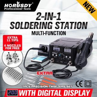 2 in 1 Soldering Iron Solder Rework Station Hot Air Gun Digital Desoldering