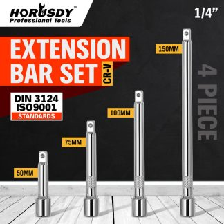 "4 Piece 1/4"" Drive Extension Bar Set 50mm 75mm 100mm 150mm Long"