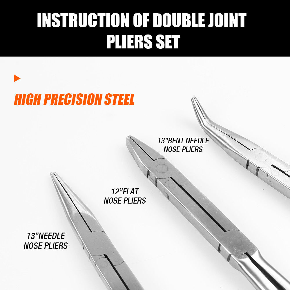3 Piece Double Joint Nose Pliers Set Extra-Long Straight Bent