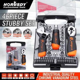 46-Piece Stubby Ratchet Driver Socket Adjustable Wrench Tool Set