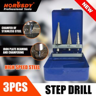 3-Piece Step Drill Bits Set HSS Steel Titanium Hole Cutting