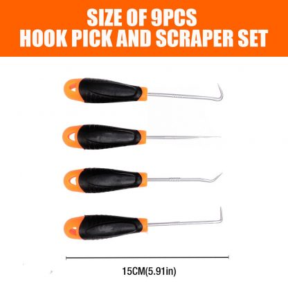 9-Piece Hook Pick Scraper Set O-Ring Seal Remover Angle Puller