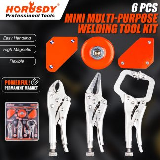 6Pc Welding Holder Tool Kit Mini Locking Vise Grip Pliers Magnetic Earth Clamps