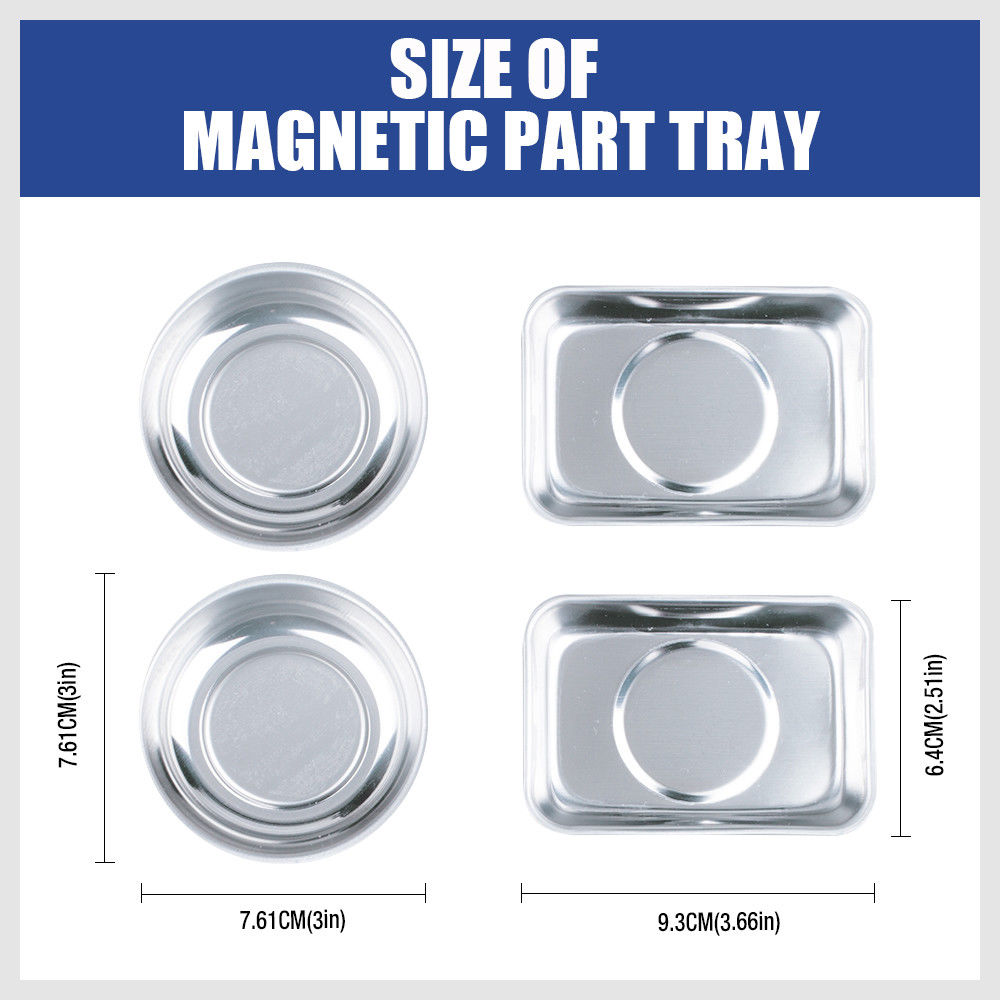 4-Piece Magnetic Tool Tray Set Parts Holder Organiser Bowl Plate