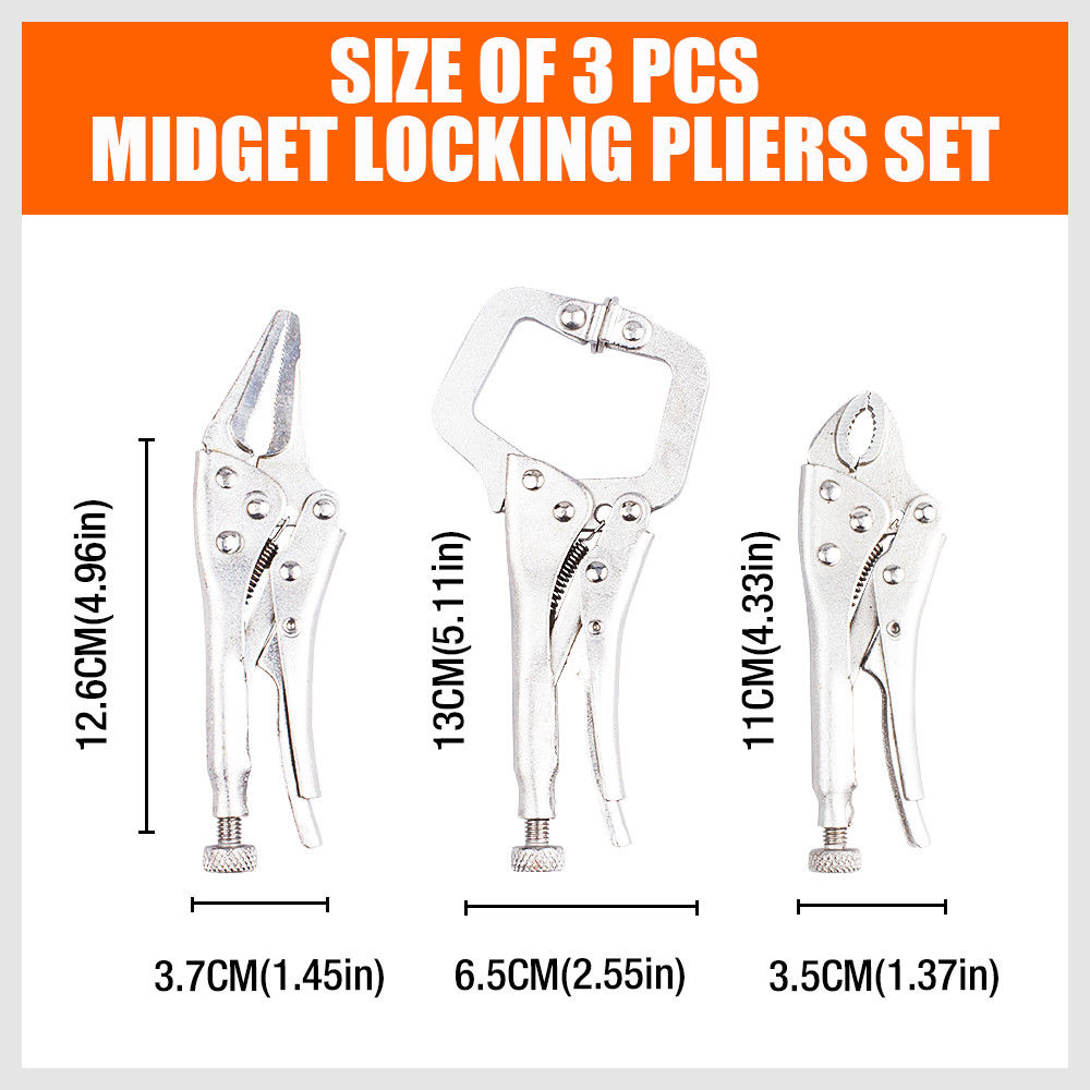 3-Piece Lock Grip Pliers Curved Jaw C-Clamp Long-Nose Locking Vise