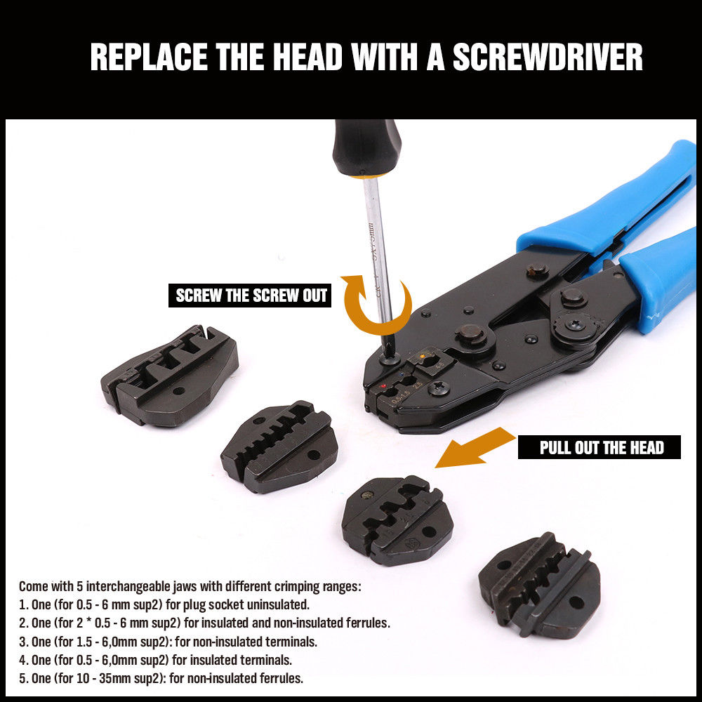 Cable Crimper Wire Terminal Crimping Tool Set Ratchet Pliers Screwdriver