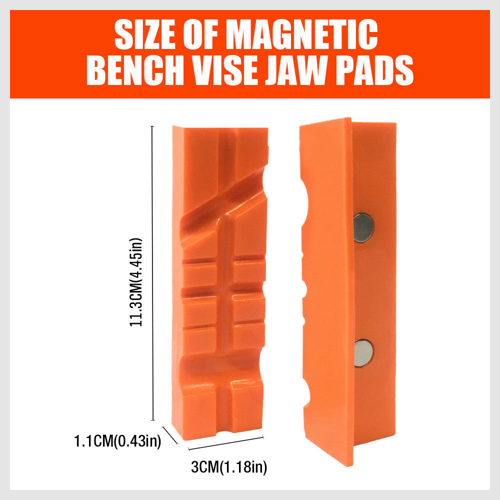 113mm-155mm Magnetic Bench Vise Jaw Pad Multi-groove Holder Grips