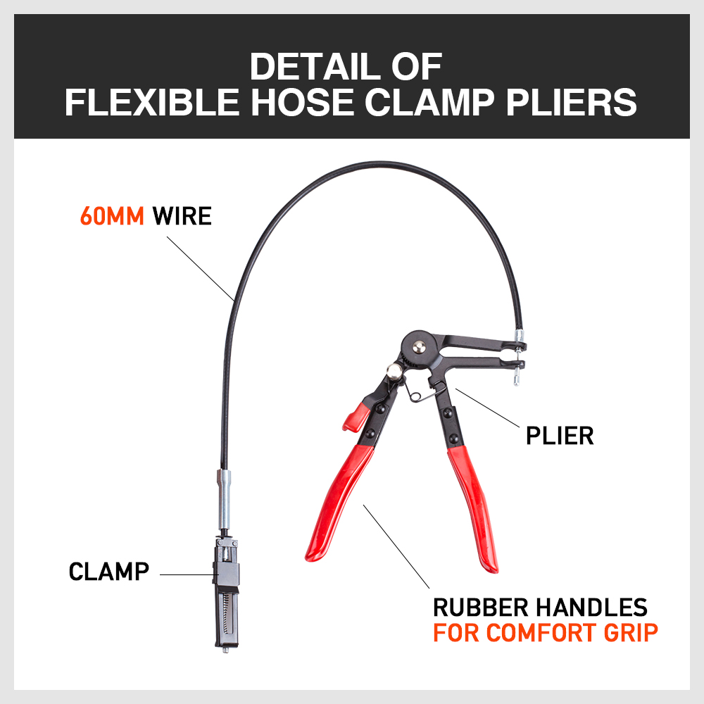 "Hose Clamp Pliers 25"" Flexible Extension Wire Clip Remove Tool"