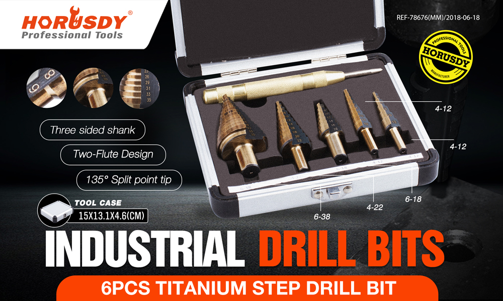 6-Piece Step Cone Drill Auto Centre Punch Set Metric 4-35mm