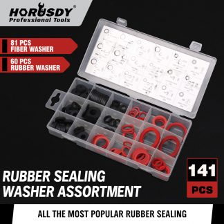 141-Piece Faucet Washer Assortment Set Rubber Fibre Washers Sealing Kit