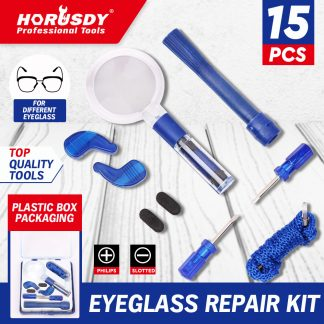 15-Piece Eyeglass Sunglass Repair Kit Fixing Screwdriver Optical Tool Magnifier