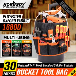 5-Gallon Bucket Tool Holder Organiser Carry Bag Gardening 30-Pocket Storage