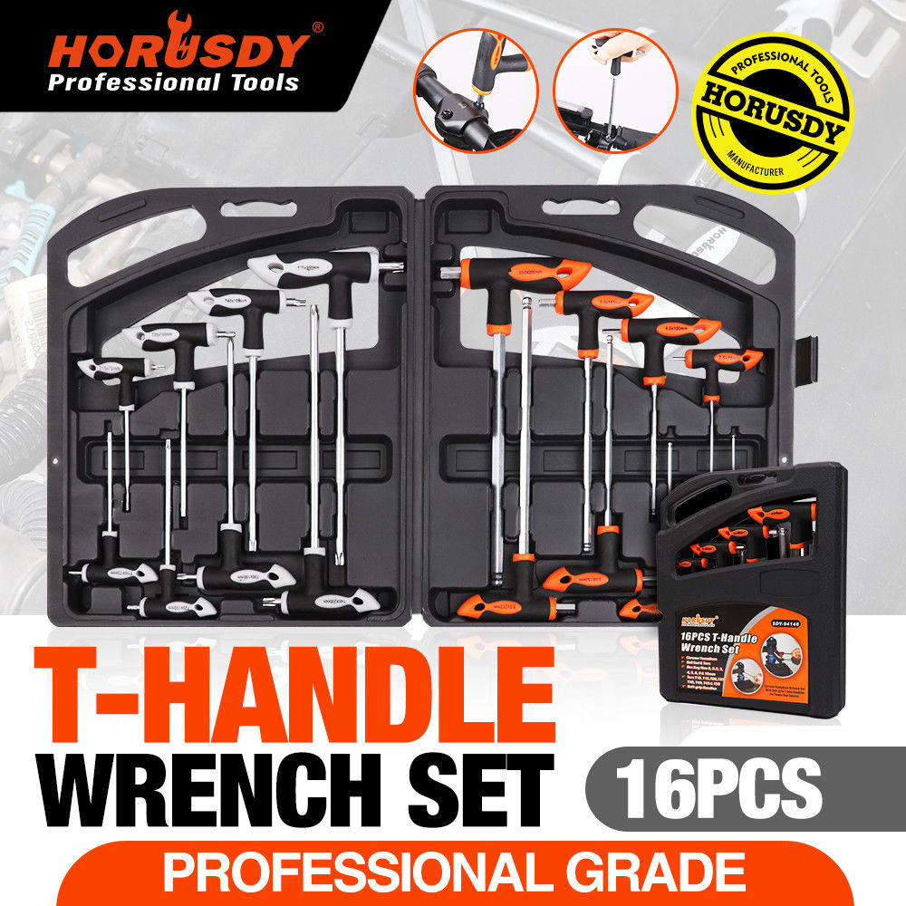 16-Piece T-Handle Hex Key Torx Star Key Set Allen Wrench