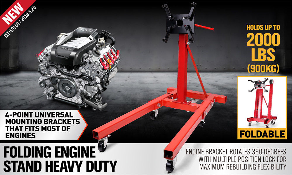 Engine Stand 900kg Workshop Car Auto Folding Crane Hoist Loading
