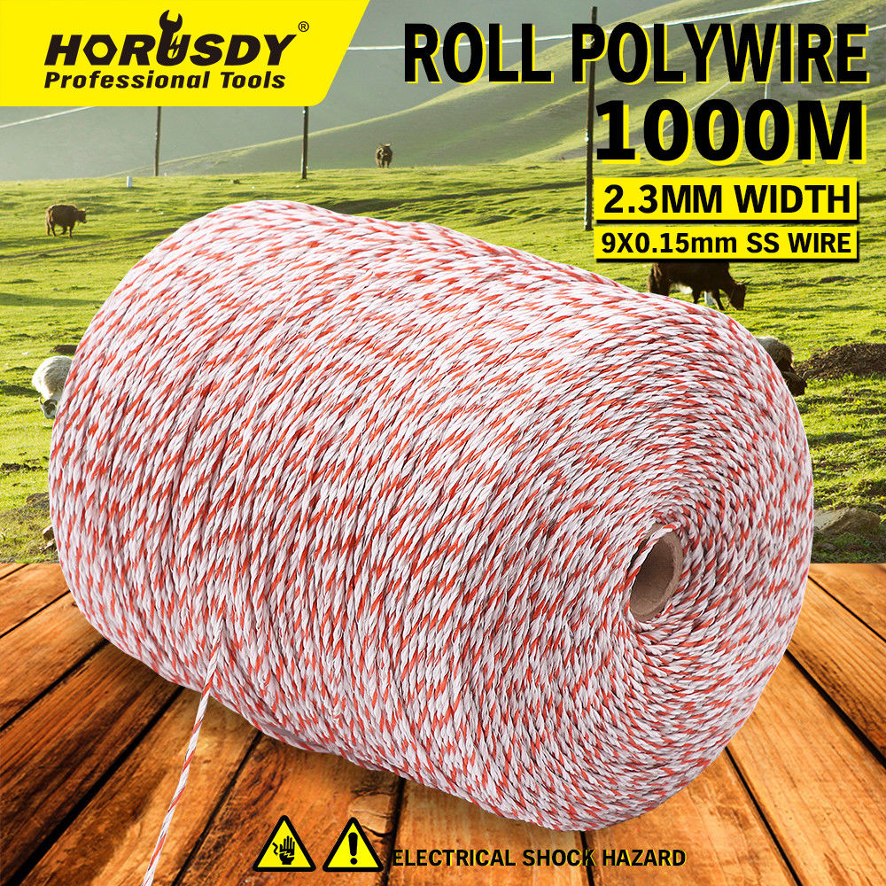 1000-Meter Polywire Electric Fence Energiser Stainless Steel Wire Fencing Tool