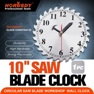 "10"" Wall clock Circular Steel Saw blade Work Shop Home"