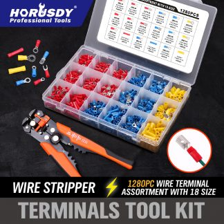 1280-Piece Electrical Wire Terminal Kit Cable Crimper Cutter Stripper