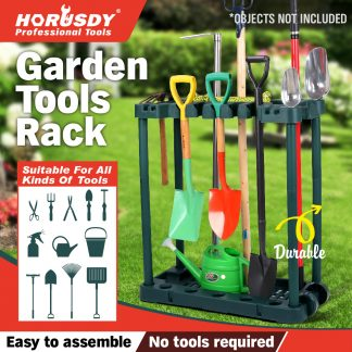 Rolling Garden Tools Storage Rack Long Short Handles Organizer Holders
